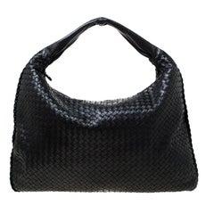 Bottega Veneta Black Intrecciato Nappa Leather Large Veneta Hobo