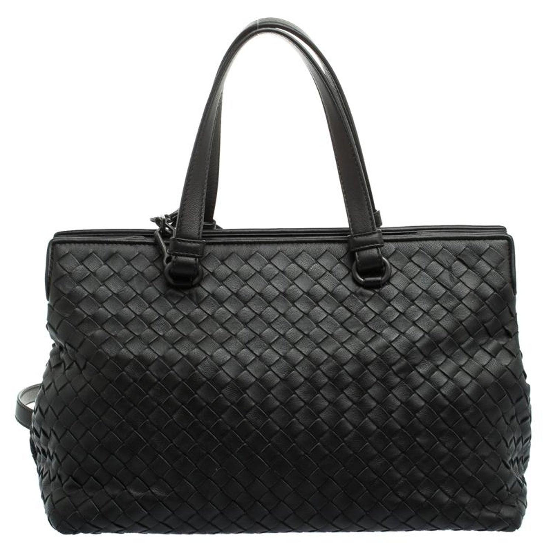 3cb1d4af7f Bottega Veneta Black Intrecciato Nappa Leather Medium Top Handle Bag For  Sale at 1stdibs