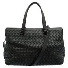 Bottega Veneta Black Intrecciato Nappa Leather Medium Top Handle Bag