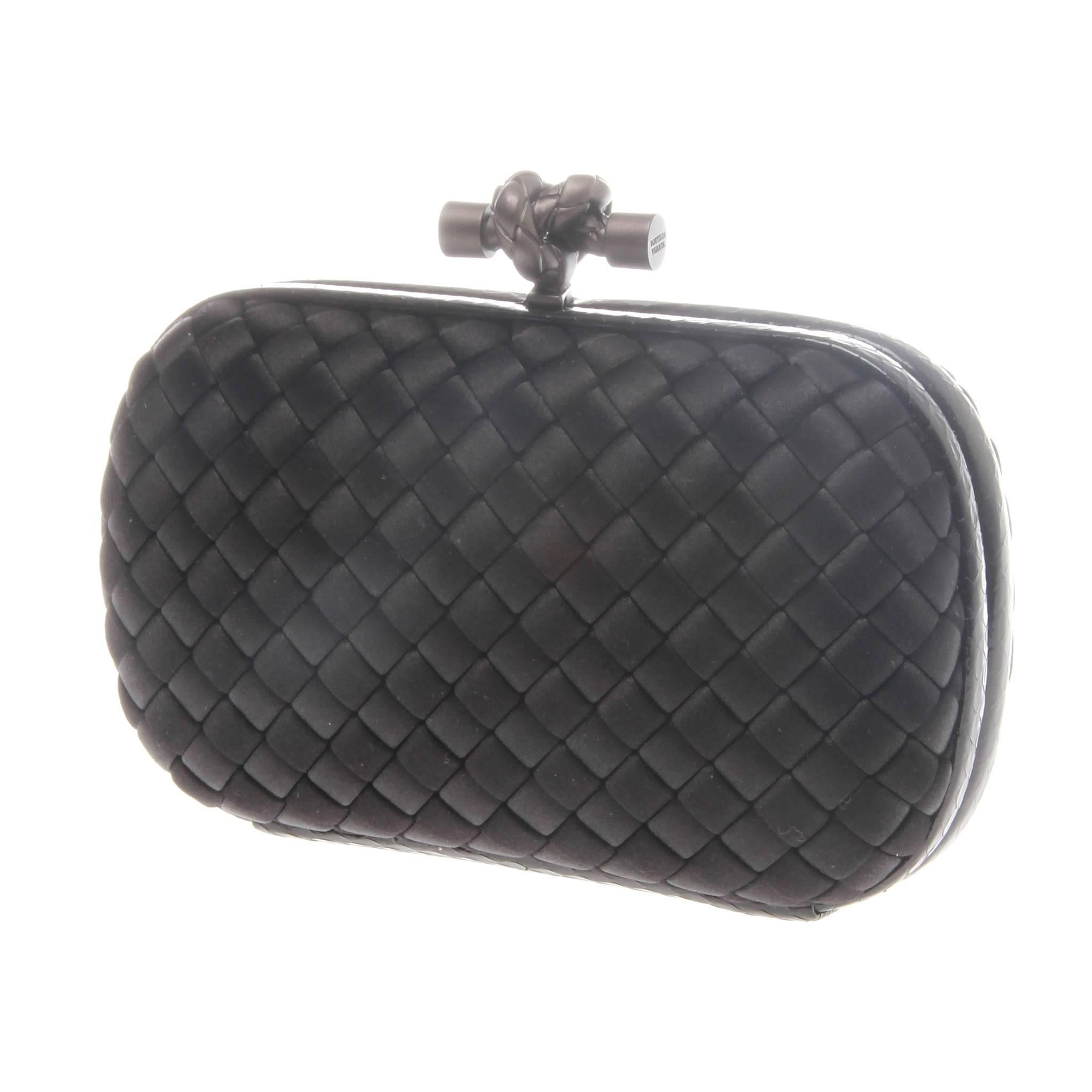 8a70f2b8f774 Bottega Veneta Black Intrecciato Satin Knot Clutch For Sale at 1stdibs