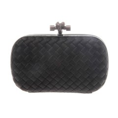 Bottega Veneta Black Intrecciato Satin Knot Clutch