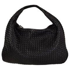 BOTTEGA VENETA black INTRECCIATO VENETA LARGE Hobo Shoulder Bag