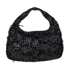 BOTTEGA VENETA black INTRECCIATO VLOURS VENETA MEDIUM Hobo Shoulder Bag