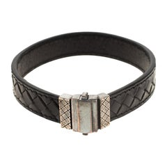 Bottega Veneta Black Intrecciato Woven Leather Silver Bracelet