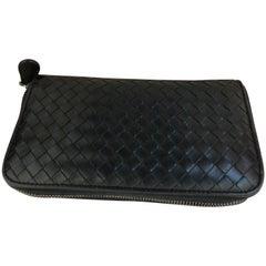 Bottega Veneta Black Intrecciato Zip Around Long Wallet w/Box