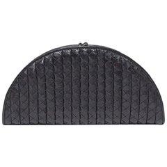 Bottega Veneta Black Intreciatto Leather Fan Clutch