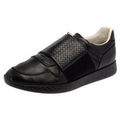 Bottega Veneta Black Intreciatto Leather Low Top Sneakers Size 43