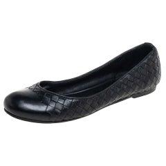 Bottega Veneta Black Leather Ballet Flats Size 39.5