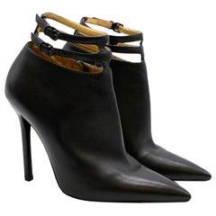 Bottega Veneta Black Leather Double Strap Booties 35.5
