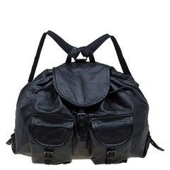 Bottega Veneta Black Leather Drawstring Backpack