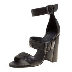 Bottega Veneta Black Leather Embroidery Stitch Ankle Strap Sandals Size 37.5