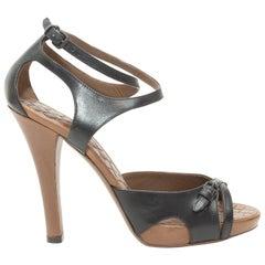 Bottega Veneta Black Leather Heeled Sandals