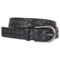 BOTTEGA VENETA black leather INTRECCIATO BUCKLE BELT 85