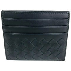 Bottega Veneta Black Leather Intrecciato Credit Card Case Unused