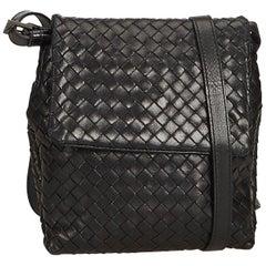 Bottega Veneta Black Leather Intrecciato Crossbody Bag