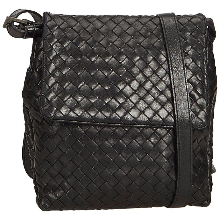 Bottega Veneta Black Leather Intrecciato Crossbody Bag at 1stdibs 6c66d3c627ddf
