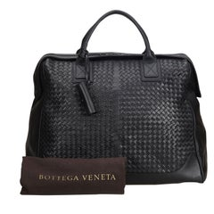Bottega Veneta Black  Leather Intrecciato Weekender Italy w/ Dust Bag
