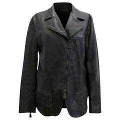 Bottega Veneta Black Leather Jacket IT 46