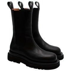 Bottega Veneta Black Leather The Lug Boots - Size EU 39