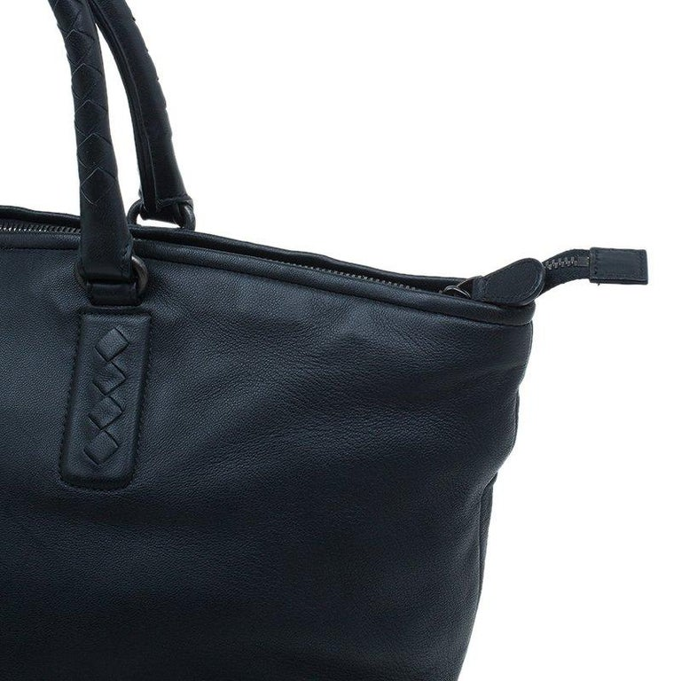 Bottega Veneta Black Nappa Intrecciato Leather Small Tote Bag For Sale 2 0dded400bf3b1