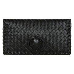 Bottega Veneta Black Nappa Intrecciato Leather Turnlock Clutch Bag rt. $1,620