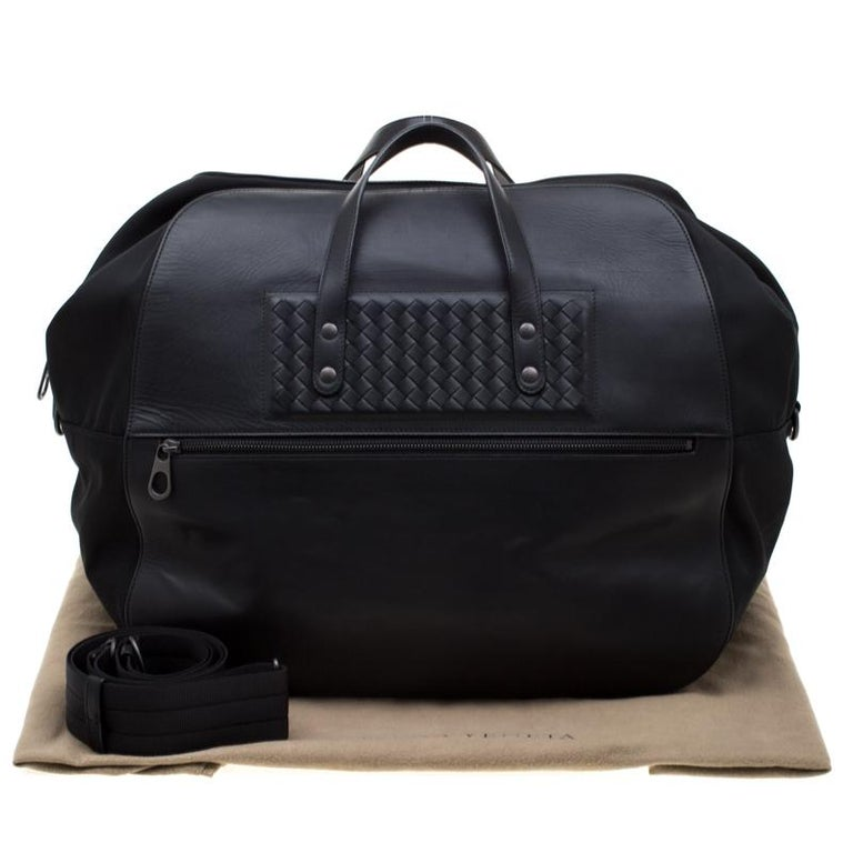 Bottega Veneta Black Nylon and Leather Duffle Bag For Sale 8