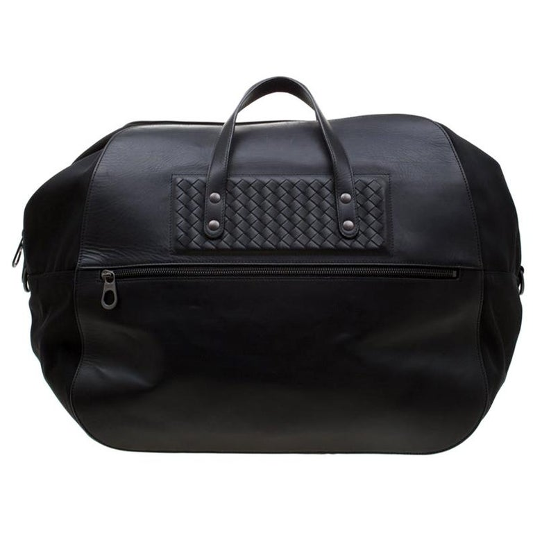 Bottega Veneta Black Nylon and Leather Duffle Bag For Sale