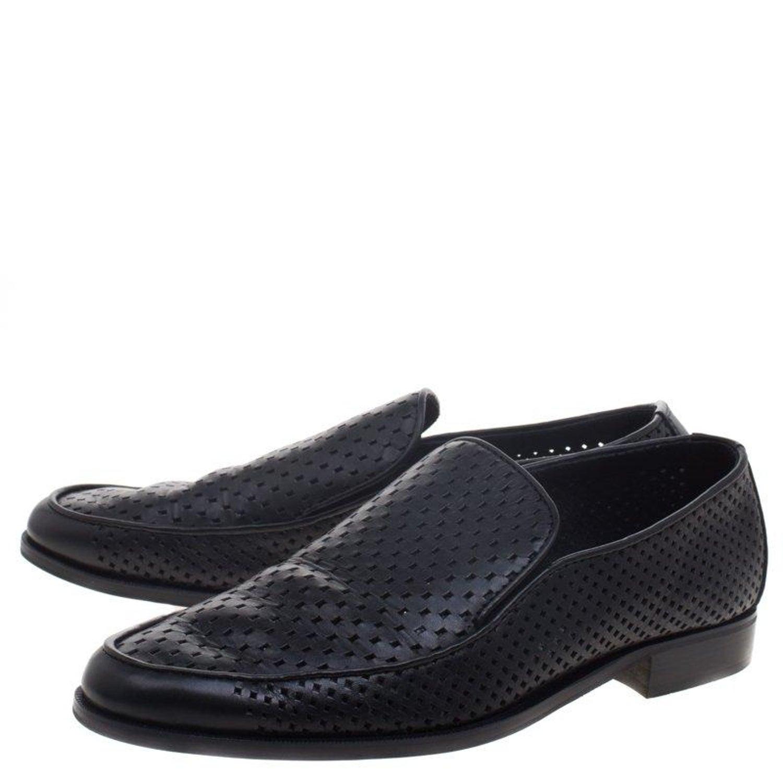 119e0b1ab Bottega Veneta Black Perforated Leather Loafers Size 43 For Sale at 1stdibs