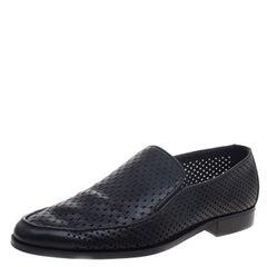 Bottega Veneta Black Perforated Leather Loafers Size 43
