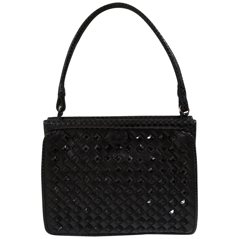 Bottega Veneta black python skin beads pochette / handbag