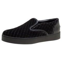 Bottega Veneta Black Quilted Velvet Dodger Intrecciato Slip On Sneakers Size 36