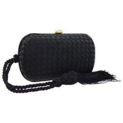Bottega Veneta Black Satin Crystal Gold Woven Tassel Evening Clutch Bag