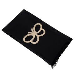 BOTTEGA VENETA black silk BUTTERLY Oblong Scarf Shawl