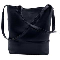 Bottega Veneta Black Smooth Leather Bucket Tote Shoulder Bag