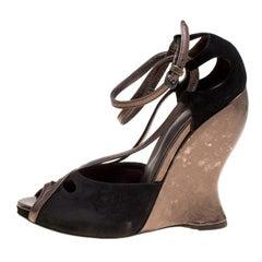 Bottega Veneta Black Suedet Ankle Strap Wedge Sandals Size 39