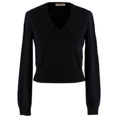 Bottega Veneta Black V-Neck Cropped Cashmere Jumper - Size XXS