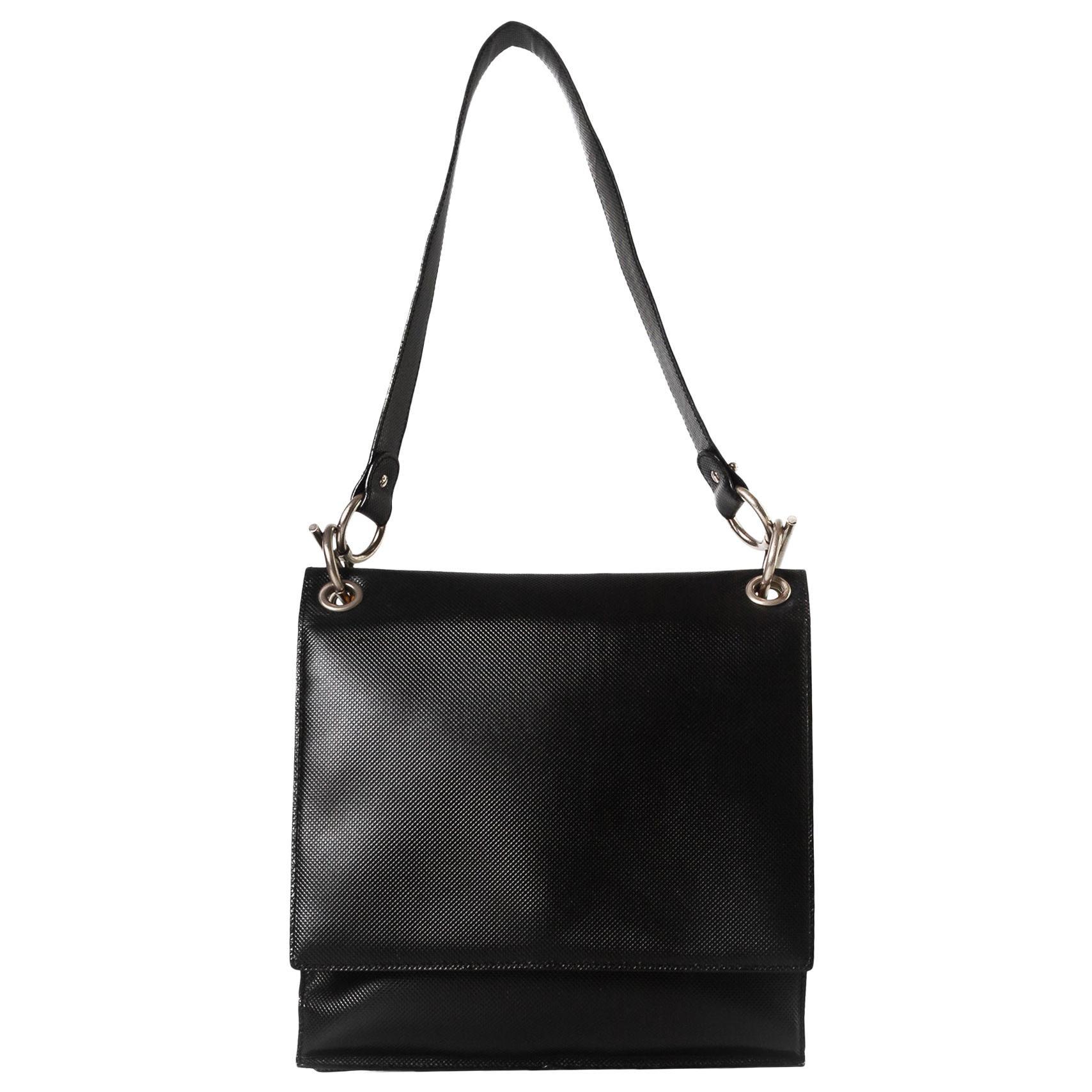 Bottega Veneta Vintage Black Safiano Leather Flap Bag