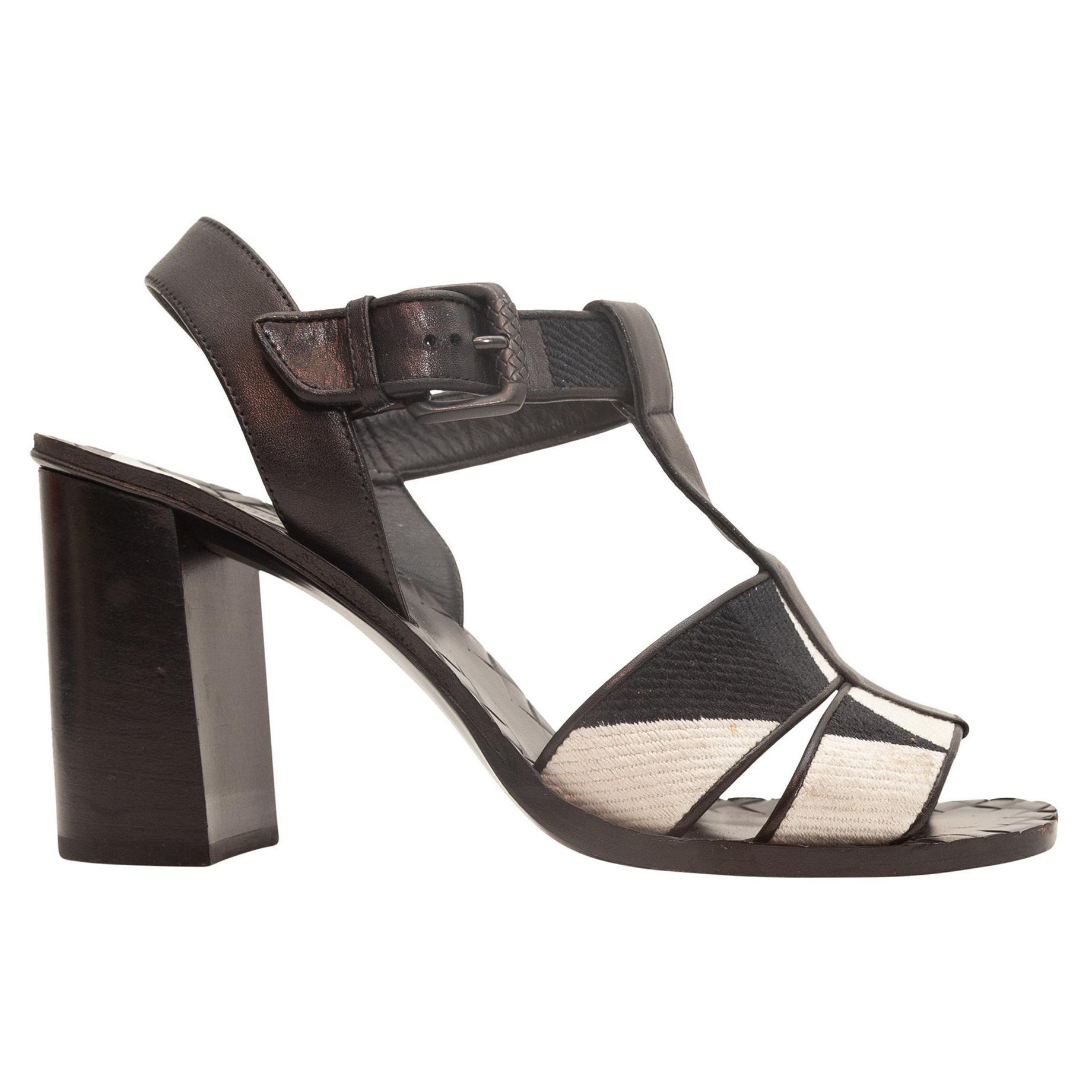 Bottega Veneta Black & White Block Heel Sandals