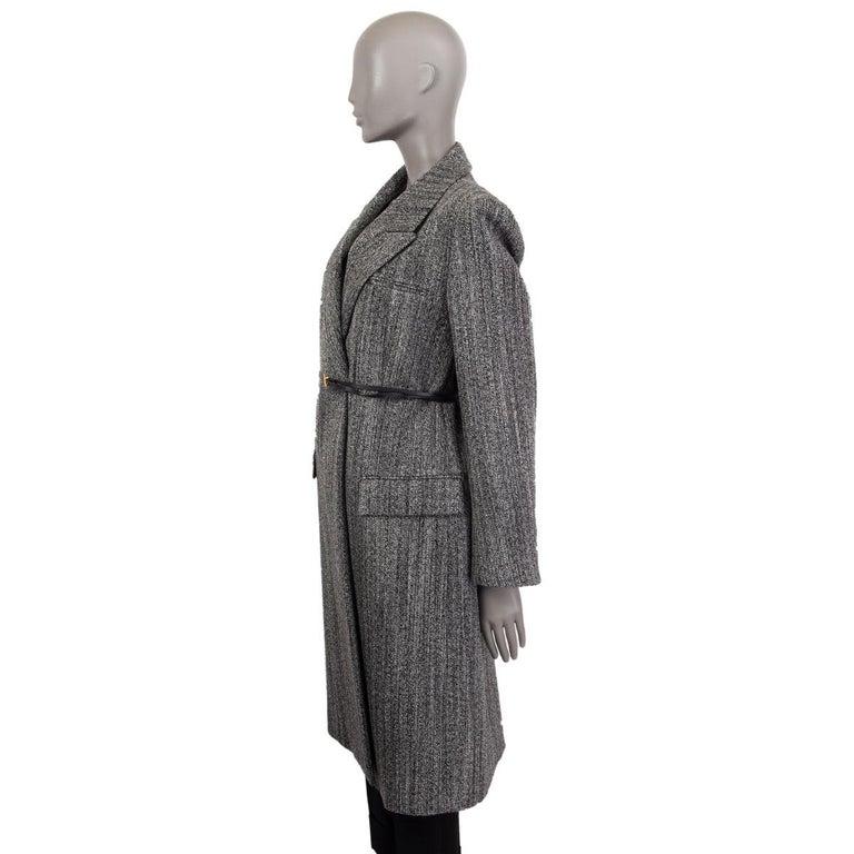 Gray BOTTEGA VENETA black & white wool BELTED Coat Jacket 36 XXS For Sale