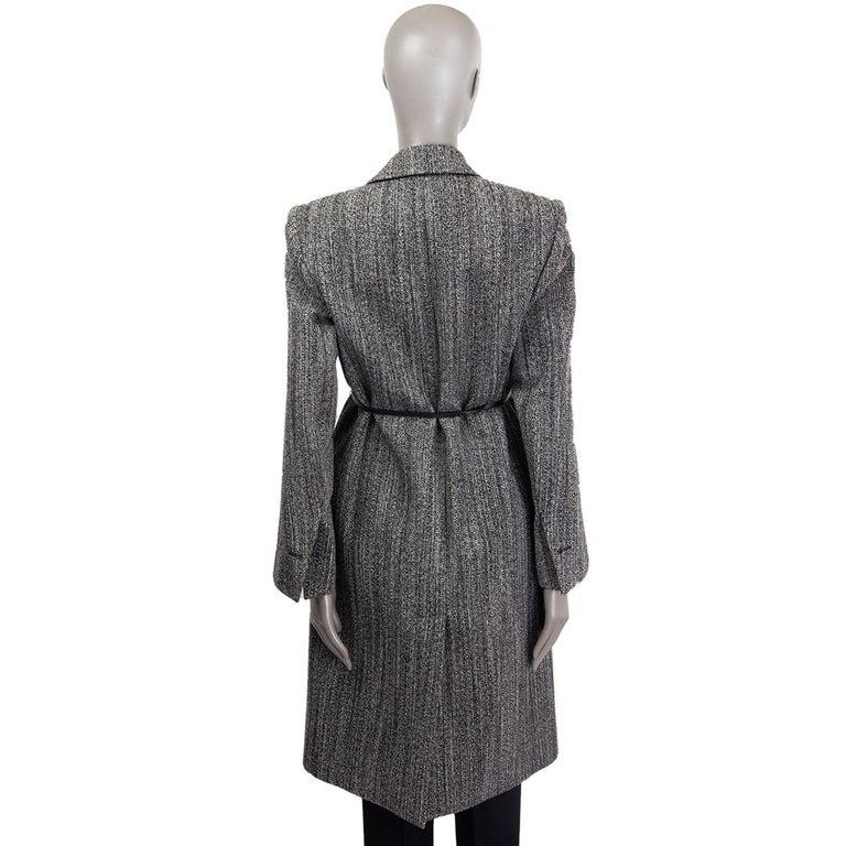 BOTTEGA VENETA black & white wool BELTED Coat Jacket 36 XXS In Excellent Condition For Sale In Zürich, CH