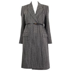 BOTTEGA VENETA black & white wool BELTED Coat Jacket 36 XXS