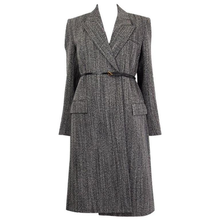 BOTTEGA VENETA black & white wool BELTED Coat Jacket 36 XXS For Sale