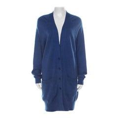 Bottega Veneta Blue Cashmere Button Front Long Cardigan M