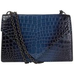 BOTTEGA VENETA blue CROCODILE PIANO CHAIN Shoulder Bag Pacific Nero