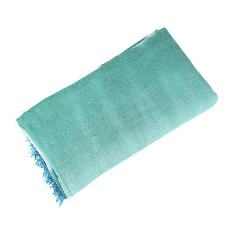 Blue BOTTEGA VENETA blue green linen silk TIE-DYE Scarf Shawl For Sale
