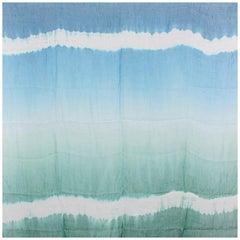BOTTEGA VENETA blue green linen silk TIE-DYE Scarf Shawl