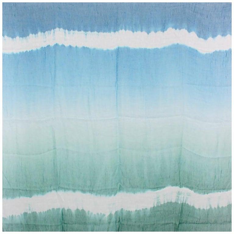 BOTTEGA VENETA blue green linen silk TIE-DYE Scarf Shawl For Sale