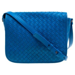 Bottega Veneta Blue Intrecciato Leather Full Flap Crossbody Bag