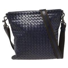 Bottega Veneta Blue Intrecciato Leather Messenger Bag