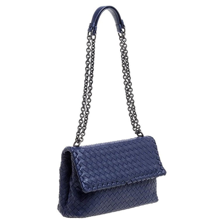 Black Bottega Veneta Blue Intrecciato Leather Small Olimpia Shoulder Bag For Sale